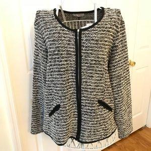 Zip-Up Tweed-Look Black and White Sweater